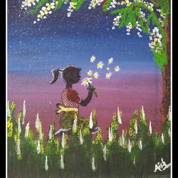 silhouette girl, 6 x 8 inch, aishwarya  jv,paintings,flower paintings,landscape paintings,nature paintings,paintings for living room,canvas board,acrylic color,6x8inch,GAL0546912876Nature,environment,Beauty,scenery,greenery