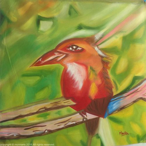 life of birdie, 19 x 20 inch, monika  narula,wildlife paintings,paintings for office,canvas,oil,19x20inch,GAL05261288