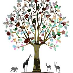 Beautiful tree with animal  art print by Gallerist