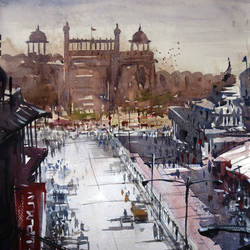 delhi-red fort, 21 x 14 inch, sankar thakur,landscape paintings,paintings for living room,fabriano sheet,watercolor,21x14inch,GAL07129