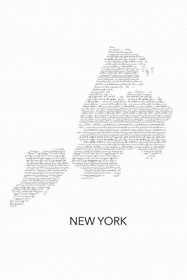 New york map in word