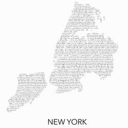 New york map in word  art print by Gallerist