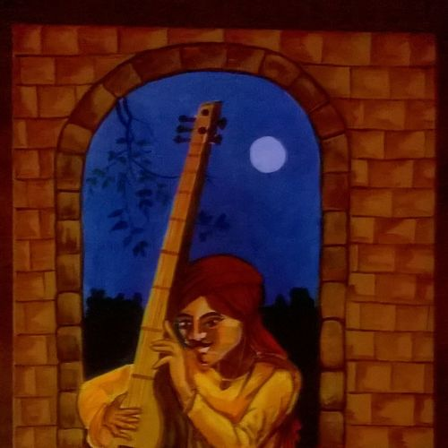 the court musician, 12 x 16 inch, sangita  powar,figurative paintings,paintings for living room,canvas,acrylic color,12x16inch,GAL05301296