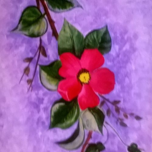 the wild rose, 8 x 12 inch, sangita  powar,flower paintings,paintings for living room,canvas,acrylic color,8x12inch,GAL05301297