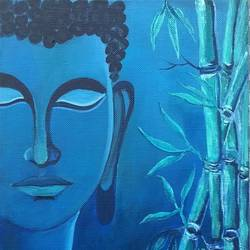 buddha - taming the mind, 8 x 10 inch, sangita  powar,buddha paintings,paintings for living room,paintings for office,canvas,acrylic color,8x10inch,religious,peace,meditation,meditating,gautam,goutam,buddha,blue,bamboo,face,side face,smiling,GAL05301298