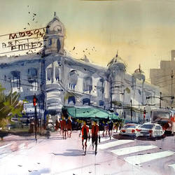 kolkata metro house, 21 x 14 inch, sankar thakur,cityscape paintings,paintings for living room,fabriano sheet,watercolor,21x14inch,GAL07130