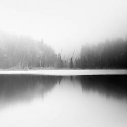 The lake with snow fog  art print by Gallerist