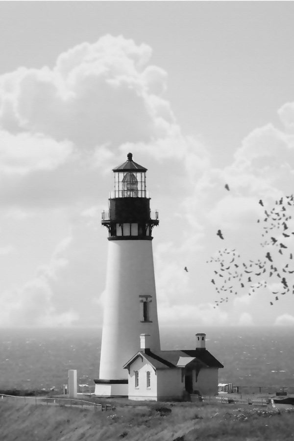 White light house with flying bird