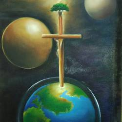 cross means, 18 x 11 inch, jacob koshy,religious paintings,paintings for living room,hardboard,oil,18x11inch,GAL05321302