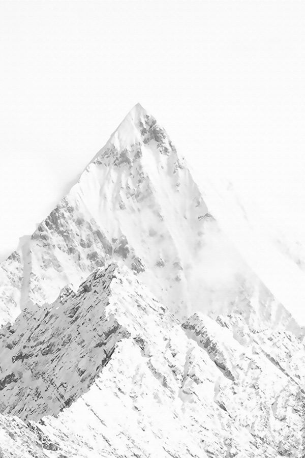 Pointed mountain cover with snow