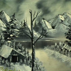 black and white snow mountain, 16 x 12 inch, goutami mishra,landscape paintings,paintings for living room,paintings,canvas,oil,16x12inch,GAL04651304