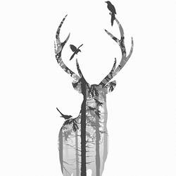 Deer with crow  art print by Gallerist