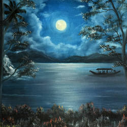 full moon night, 19 x 16 inch, goutami mishra,landscape paintings,paintings for bedroom,paintings,canvas,oil,19x16inch,GAL04651305