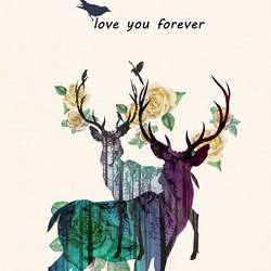 Tow deer in love  art print by Gallerist