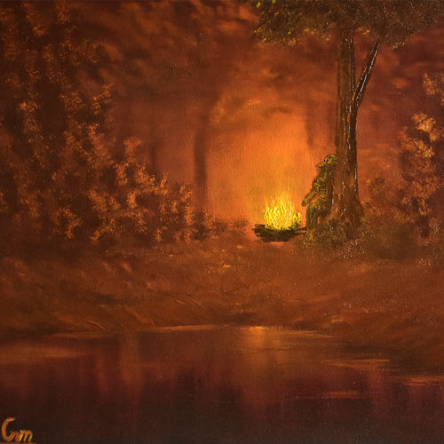 campfire, 19 x 15 inch, goutami mishra,nature paintings,paintings for living room,canvas,oil,19x15inch,GAL04651306Nature,environment,Beauty,scenery,greenery