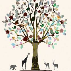 Animal under love tree art print by Gallerist