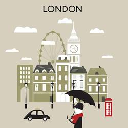 London with bulling  art print by Gallerist