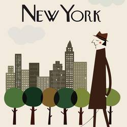 New york man with dog  art print by Gallerist