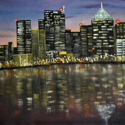 city lights, 19 x 16 inch, goutami mishra,cityscape paintings,paintings for living room,paintings,canvas,oil,19x16inch,GAL04651307