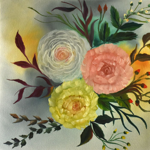 english classic roses, 16 x 14 inch, goutami mishra,flower paintings,paintings for bedroom,paintings,canvas,oil,16x14inch,GAL04651308