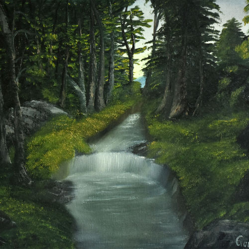 way to forest, 20 x 16 inch, goutami mishra,landscape paintings,paintings for living room,canvas,oil,20x16inch,GAL04651309