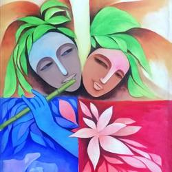krishna-radha, 18 x 24 inch, a.b.  kaser,abstract paintings,figurative paintings,radha krishna paintings,contemporary paintings,paintings for living room,canvas,acrylic color,18x24inch,GAL063613091,radha,krishna,lord,love,couple,flute,music,radhakrishna