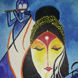 loved radha krishna , 9 x 12 inch, rishma patel,paintings for bedroom,radha krishna paintings,paintings for living room,paintings for hotel,canvas,acrylic color,9x12inch,GAL0548713094,radhakrishna,love,pece,lordkrishna,lordradha,peace,radha,krishna,devotion,couple,flute,music