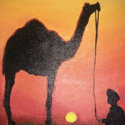 camel ride in dessert, 9 x 12 inch, rishma patel,animal paintings,paintings for living room,paintings for bedroom,paintings for kids room,paintings for hotel,paintings for living room,paintings for bedroom,paintings for kids room,paintings for hotel,canvas,acrylic color,9x12inch,GAL0548713097