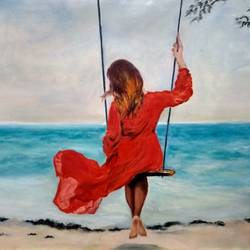 summer child, 36 x 24 inch, vandana mehta,paintings,figurative paintings,photorealism paintings,realism paintings,surrealist paintings,paintings for dining room,paintings for living room,paintings for bedroom,paintings for office,paintings for kids room,paintings for dining room,paintings for living room,paintings for bedroom,paintings for office,paintings for kids room,canvas,oil,36x24inch,GAL0402313098