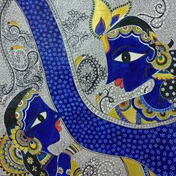 madhubani art of radha krishna , 16 x 16 inch, gautam khurana,radha krishna paintings,paintings for dining room,paintings for living room,paintings for bedroom,madhubani paintings,handmade paper,acrylic color,16x16inch,GAL0535913099,radhakrishna,love,pece,lordkrishna,lordradha,peace,radha,krishna,devotion,couple