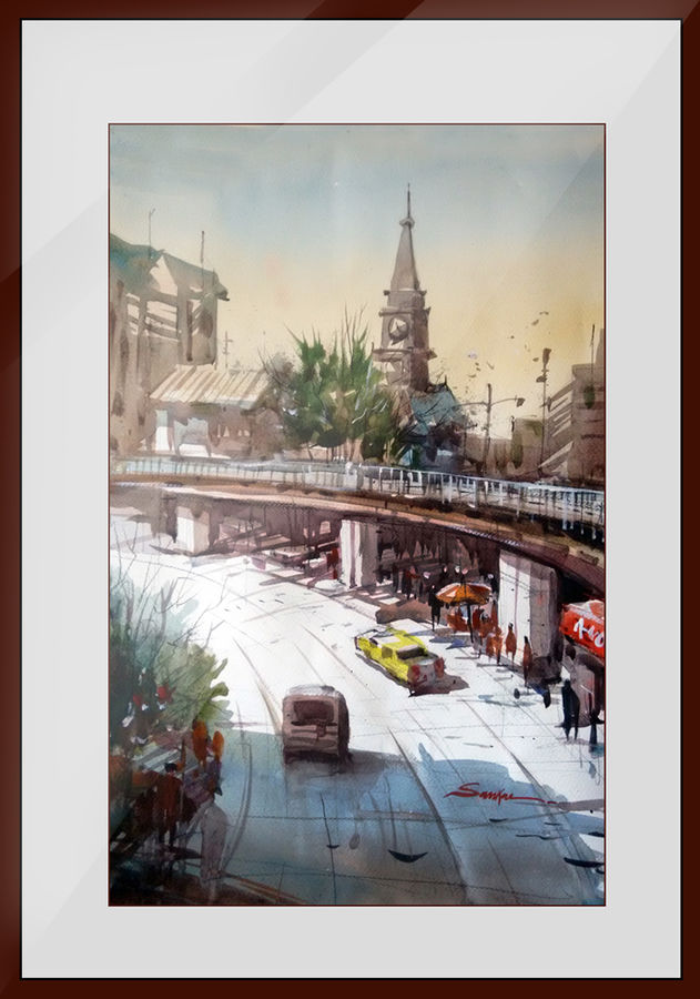 gurgaon highway, 21 x 14 inch, sankar thakur,cityscape paintings,paintings for office,fabriano sheet,watercolor,21x14inch,GAL07131