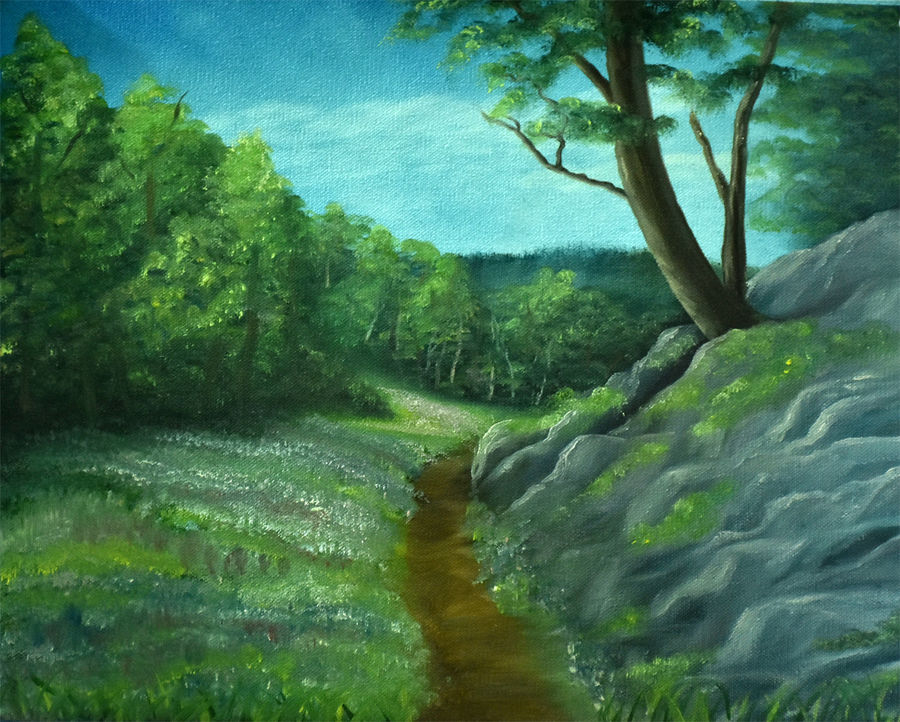 path of happiness, 16 x 12 inch, goutami mishra,landscape paintings,paintings for living room,paintings,canvas,oil,16x12inch,GAL04651310
