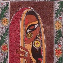 woman madhubani, 16 x 11 inch, gautam khurana,folk art paintings,paintings for dining room,paintings for living room,paintings for bedroom,paintings for office,paintings for dining room,paintings for living room,paintings for bedroom,paintings for office,madhubani paintings,canvas,acrylic color,16x11inch,GAL0535913100