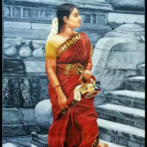 indian  village beauty, 32 x 46 inch, rijas  ep,paintings,figurative paintings,paintings for living room,paintings for living room,canvas,oil,32x46inch,GAL0549113101