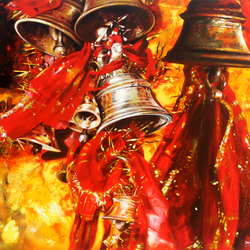 temple bells, 30 x 24 inch, muralidhar suvarna,paintings,religious paintings,photorealism,realism paintings,realistic paintings,paintings for living room,paintings for bedroom,paintings for office,paintings for hotel,paintings for living room,paintings for bedroom,paintings for office,paintings for hotel,canvas,acrylic color,30x24inch,GAL0456913111