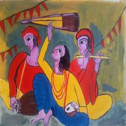 the musicians, 16 x 12 inch, abhik mahanti,paintings,figurative paintings,paintings for living room,canvas,acrylic color,16x12inch,GAL0404413112