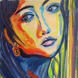 the koean girl, 9 x 16 inch, abhik mahanti,paintings,figurative paintings,canvas,acrylic color,9x16inch,GAL0404413113