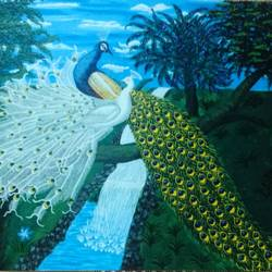 conversation in nature, 48 x 36 inch, j.k  chhatwal,wildlife paintings,nature paintings,animal paintings,canvas,acrylic color,48x36inch,GAL0537813119Nature,environment,Beauty,scenery,greenery,peacock,trees,national bird