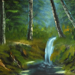 forest waterfall, 19 x 15 inch, goutami mishra,nature paintings,paintings for living room,water fountain paintings,canvas,oil,19x15inch,GAL04651312Nature,environment,Beauty,scenery,greenery,trees,water,beautiful,leaves.waterfall,forest