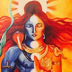ardhnareshwar lord shiva, 15 x 22 inch, ankita paneri,figurative paintings,lord shiva paintings,canvas,acrylic color,15x22inch,GAL0549713121