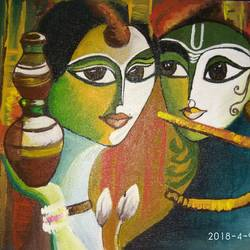 radha krishna in delight, 9 x 12 inch, rishma patel,radha krishna paintings,paintings for dining room,paintings for living room,paintings for bedroom,canvas,acrylic color,9x12inch,GAL0548713123,radhakrishna,love,lord,peace,couple,flute,music,lordkrishna