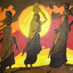 ladies on sunset, 9 x 12 inch, rishma patel,folk art paintings,paintings for dining room,paintings for living room,paintings for office,paintings for hotel,canvas,acrylic color,9x12inch,GAL0548713139