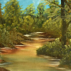lake side forest, 18 x 12 inch, goutami mishra,nature paintings,paintings for living room,canvas,oil,18x12inch,GAL04651314Nature,environment,Beauty,scenery,greenery,,trees,water,beautiful,leaves
