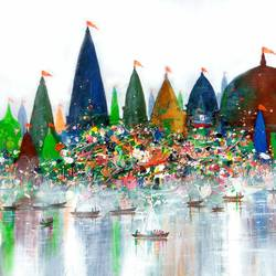 holy journey, 36 x 20 inch, sandeep rawal ,abstract paintings,cityscape paintings,landscape paintings,conceptual paintings,religious paintings,contemporary paintings,paintings for dining room,paintings for living room,paintings for office,paintings for kids room,paintings for hotel,paintings for school,paintings for hospital,canvas,acrylic color,36x20inch,GAL0251113144