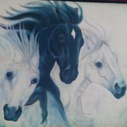 three horses, 30 x 24 inch, anuradha kulkarni,animal paintings,paintings for living room,canvas,acrylic color,30x24inch,GAL0497413153