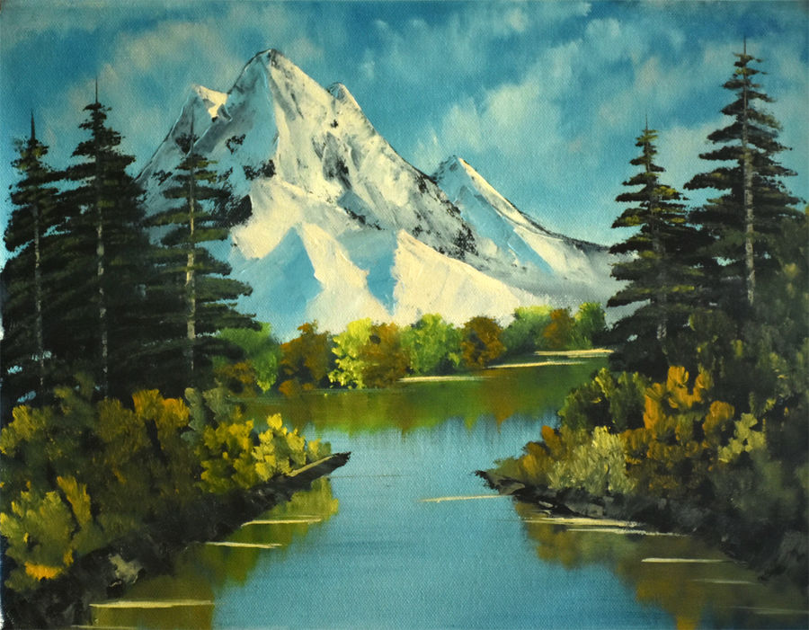 snow mountain in green, 16 x 12 inch, goutami mishra,landscape paintings,paintings for living room,canvas,oil,16x12inch,GAL04651316