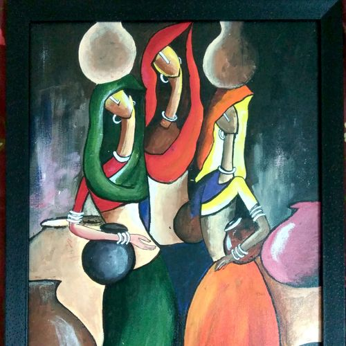 beauty of women, 14 x 17 inch, tejal apale,paintings,figurative paintings,paintings for living room,paintings for bedroom,canvas,acrylic color,14x17inch,GAL0552113164