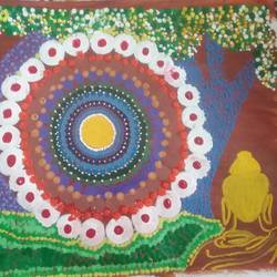 enlightement, 7 x 12 inch, prathibha  m chachadi ,paintings,buddha paintings,paintings for office,paintings for office,thick paper,acrylic color,7x12inch,religious,peace,meditation,meditating,gautam,goutam,buddha,lord,GAL0552213165