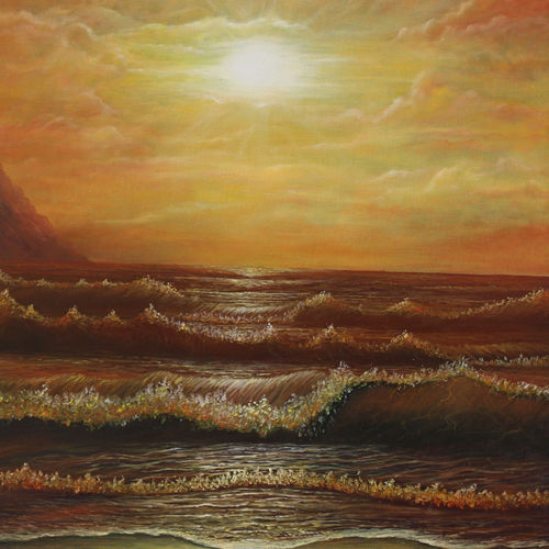 sea at sunset, 16 x 20 inch, goutami mishra,nature paintings,paintings for living room,canvas,oil,16x20inch,GAL04651317Nature,environment,Beauty,scenery,greenery