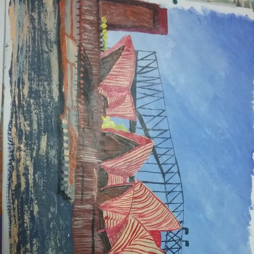 opera house, 7 x 12 inch, prathibha  m chachadi ,paintings,cityscape paintings,paintings for living room,paintings for office,paintings for kids room,paintings for school,paintings for hospital,paintings for living room,paintings for office,paintings for kids room,paintings for school,paintings for hospital,thick paper,acrylic color,7x12inch,GAL0552213171